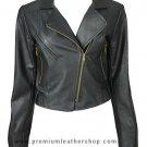 NWT Women's Cropped Motor Bike Leather Jacket Style 5F