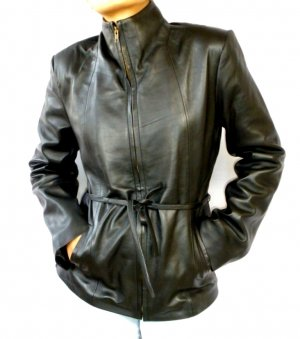 NWT Women's High Neck Waist Strap Leather Jacket Style 6F