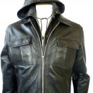 NWT Men's Hooded Bomber Leather Jacket Style M34