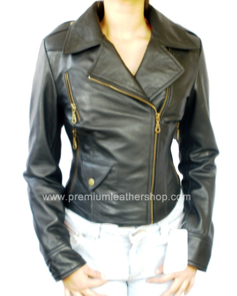 NWT Women's Motorbike Leather Jacket Style 2400 S-XL