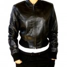 Women's Crewneck Rib Cropped Leather Jacket Style F-110