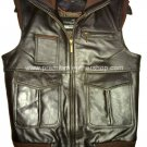 NWT Men's Sleeve Less Bomber Leather Vest Style M42LVC