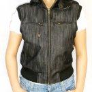 NWT Women's Sleeveless Hood Denim Vest Style 42FD