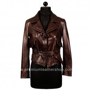 NWT Women's Leather Blazer Semi Cropped Style 24F