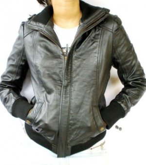 NWT Women's Bomber Leather Jacket Style 4FP Size Small