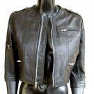 NWT Women' s Cropped 3/4 Sleeve Leather Jacket Style 3700