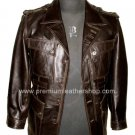 Men's 4 Button Blazer Spy Series Leather Jacket MD12