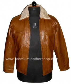 NWT Men's Bomber Remove able Collar Sheep Skin Leather Jacket Style M70