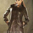 NWT Women' s 5 Button Long Leather Coat Style 39F