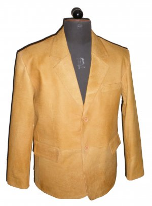 Men's 2 Button Classic Sheep Snuff Distressed color Leather Blazer Style M80