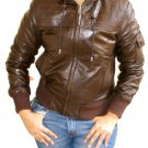 Women&#39;s Hooded Leather Jacket style 14F Size L Color Brown
