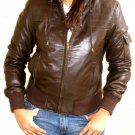 Women&#39;s Hooded Leather Jacket style 14F Size XL Color Brown