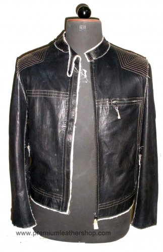 Men's Biker Leather jacket Style M25 Size 3XL