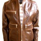 Women's Mandarin Collar Cropped Bomber Leather Jacket Style 4600 Size 2XL