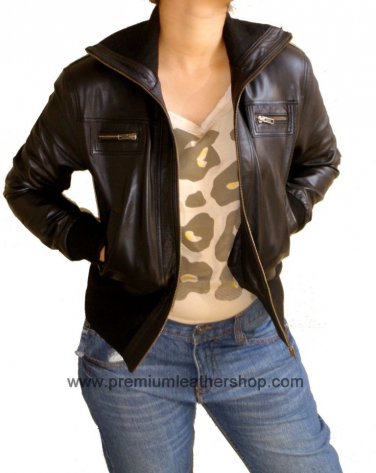 Ladies Cropped High Neck Bomber Leather jacket Style 68F Size Medium color Black