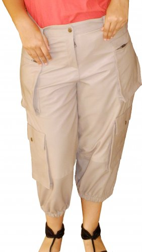 Women's Cargo Pocket Capri Style Leather Pants Style WPC1 Size Small color khaki