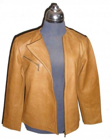 Women's Crewneck Biker Leather Jacket Style FS-8