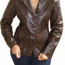 Women's 4 Button Leather Blazer Style 2300 Size Large Color Dark Brown
