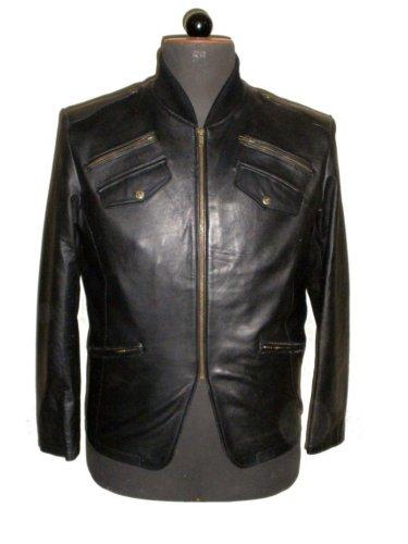 "Men's Varsity collar Bomber crossover Leather Jacket Style M92 Size ""2XL"""