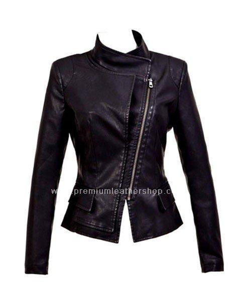 NWT Women's Wraparound High Neck Motorbiker Leather Jacket Style 74F