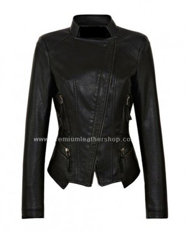 NWT Women's Mandarin Collar Motorbike Leather Jacket Style 73F