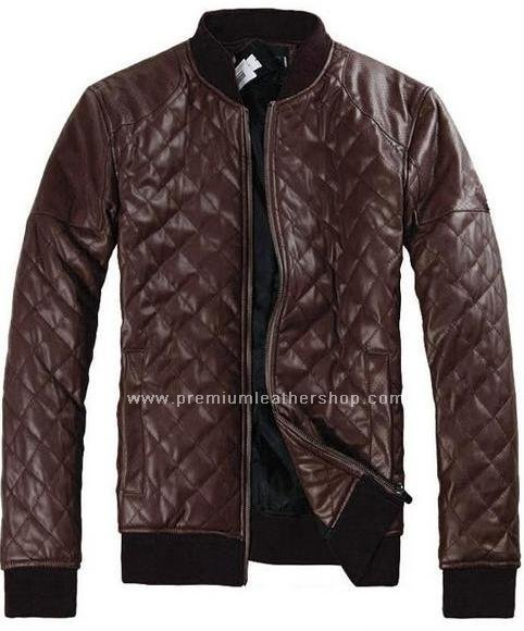 "Men's Leather Jacket Diamond Design stitch Style M27 Size 6X (60"" Chest)"