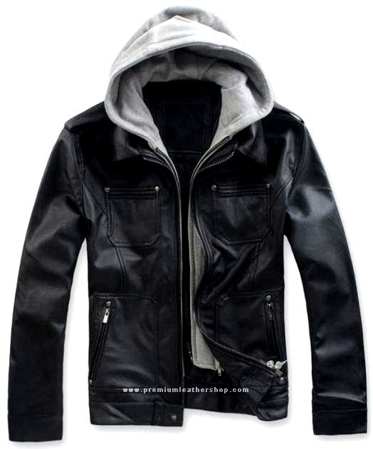 """Men's Remove able Fleece Hood Leather Jacket Style M63 Size 6X (60"""" Chest)"""