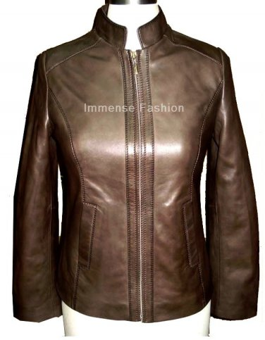 NWT Women's Chinese Mandarin Collar Leather Jacket Style FS-36
