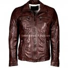 NWT Men's High Neck Leather Jacket Style MD-28