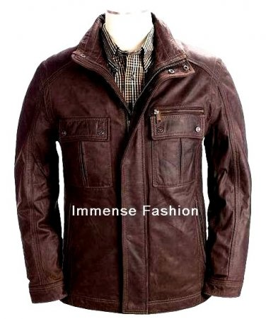 NWT Men's High Neck Bomber Leather Jacket Style MD-22