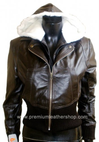 Women's Remove able Hooded Blazer crossover style Leather Jacket Style 3600