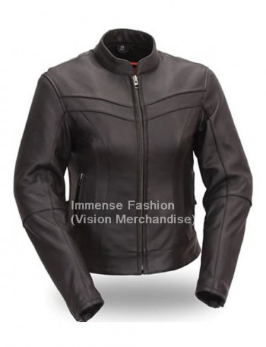 Men's Chinese Mandarin Collar Style Biker Leather Jacket Style MD-54
