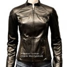 NWT Women's Mandarin Collar Quad Pocket Leather Jacket Style FS-168