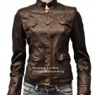 NWT Women's 6 Button Quad Pockets Leather Jacket Style FS-172