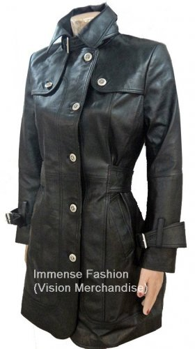 NWT Women's 5 button Trench Leather Coat Style FS-154