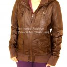 NWT Women's High Neck Removeable Hood Leather Jacket Style FS-134