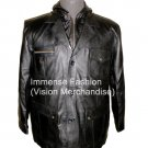 NWT Men's Remove able Hood 3 button Leather Blazer Style M64 Size Large