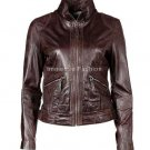 NWT Women's High Neck Leather Jacket Style FS-40 Plus Sizes