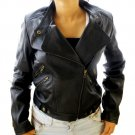 Women's Retro Biker Leather Jacket Style 48F size XS