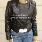NWT Women's Cropped Motor Biker Leather Jacket Style FS-88