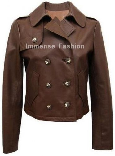 NWT Women's Cropped Double Breasted Leather Blazer Style FS-14