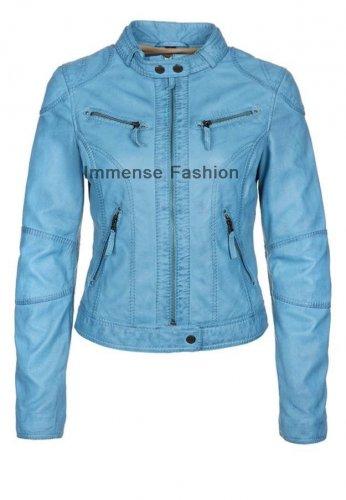 NWT Women's Retro Biker Leather Jacket Style FS-16