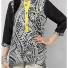 Women's Mint Black & White Silk Tunic With Lemon Yellow Placket