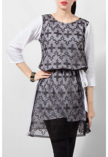 Fashion Café White Jersey Tunic with Black Net Front & Belt