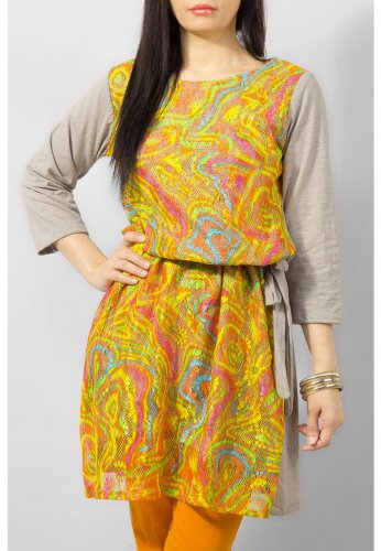 Fashion Café Multi Color Jersey Tunic with Grey Back