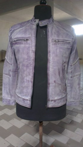 NWT Men's Washed & Distressed Biker Leather Jacket Style MD-170