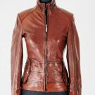 NWT Women's Waxed High Neck Racer Leather Jacket Style FS-186