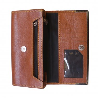 Ladies New Genuine Leather Wallet with contrast trim cover.