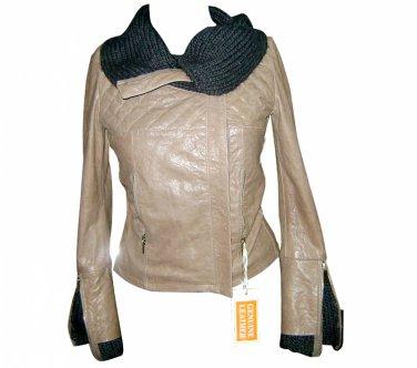 Women's zip neck leather jacket style FS-190