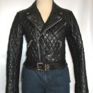 Women's Diamond Stitch Motorbike Leather Jacket Style FS-196